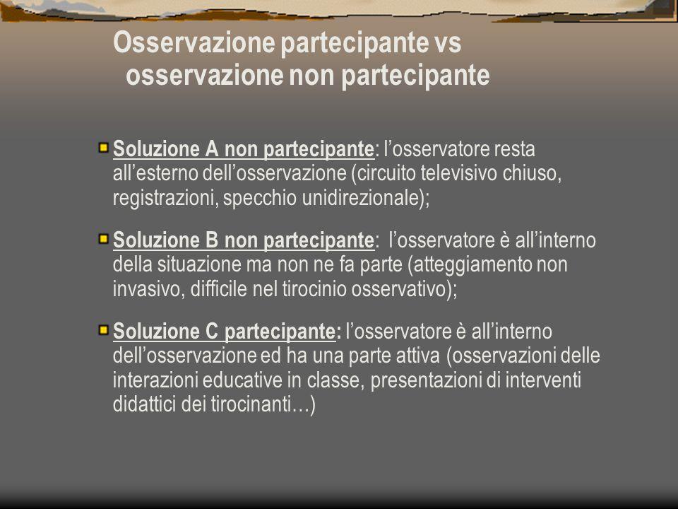 Osservazione partecipante vs osservazione non partecipante