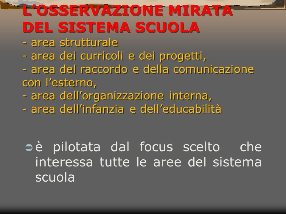 L'OSSERVAZIONE MIRATA DEL SISTEMA SCUOLA - area strutturale - area dei curricoli e dei progetti, - area del raccordo e della comunicazione con l'esterno, - area dell'organizzazione interna, - area dell'infanzia e dell'educabilità
