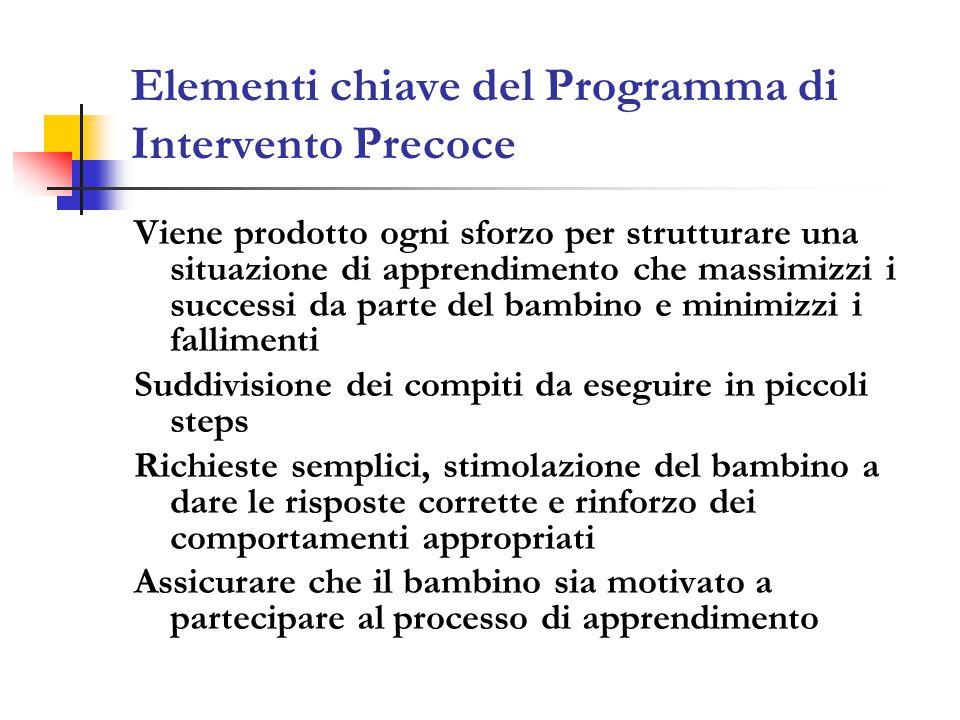 Elementi chiave del Programma di Intervento Precoce