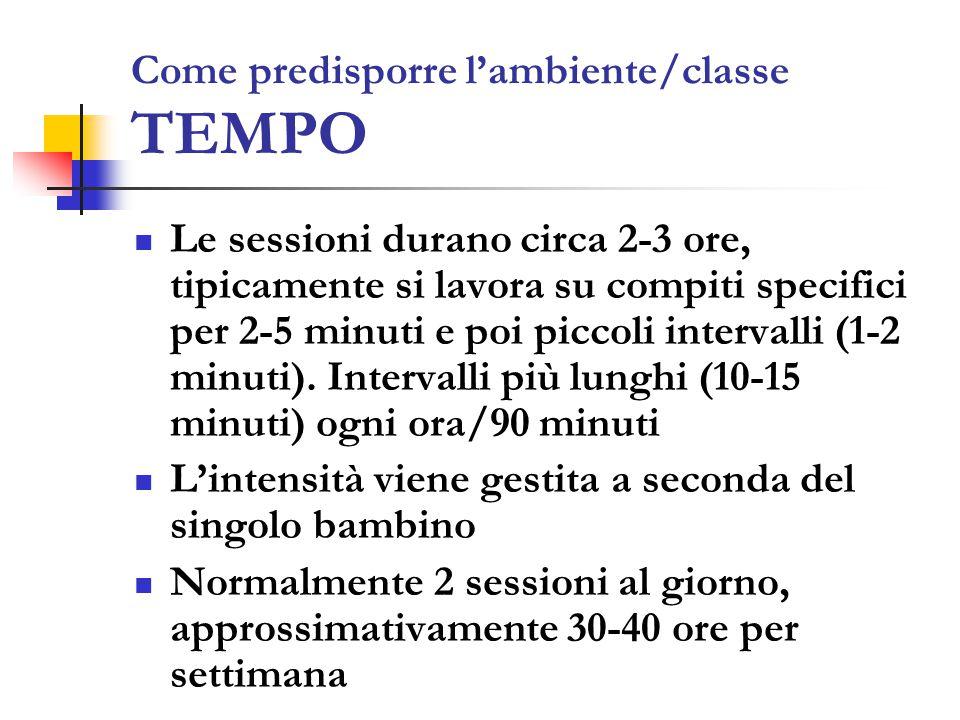 Come predisporre l'ambiente/classe TEMPO