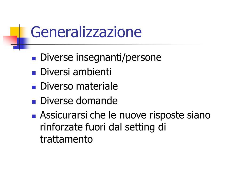 Generalizzazione Diverse insegnanti/persone Diversi ambienti
