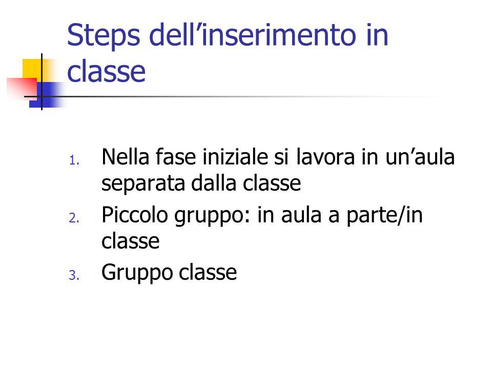 Steps dell'inserimento in classe