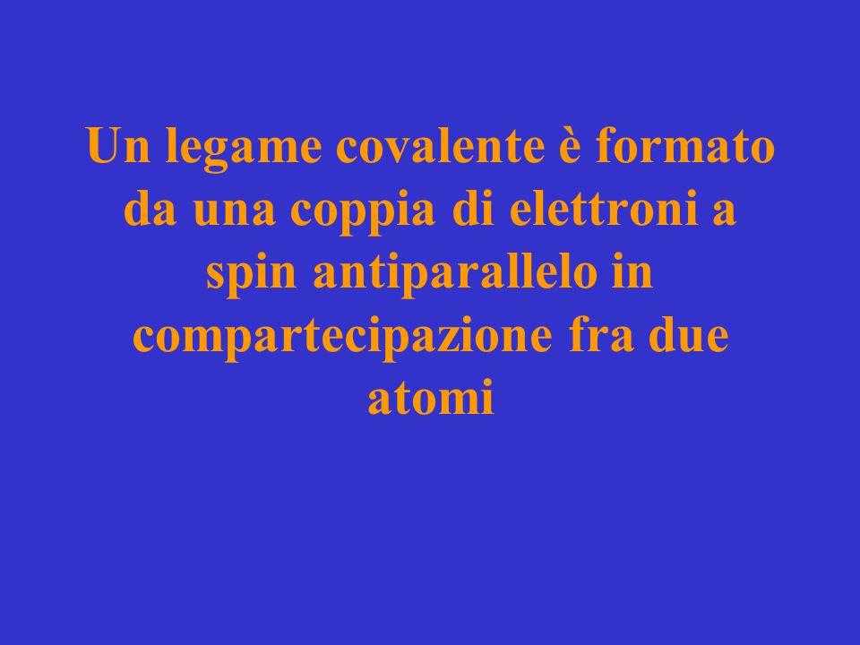 Un legame covalente è formato da una coppia di elettroni a spin antiparallelo in compartecipazione fra due atomi