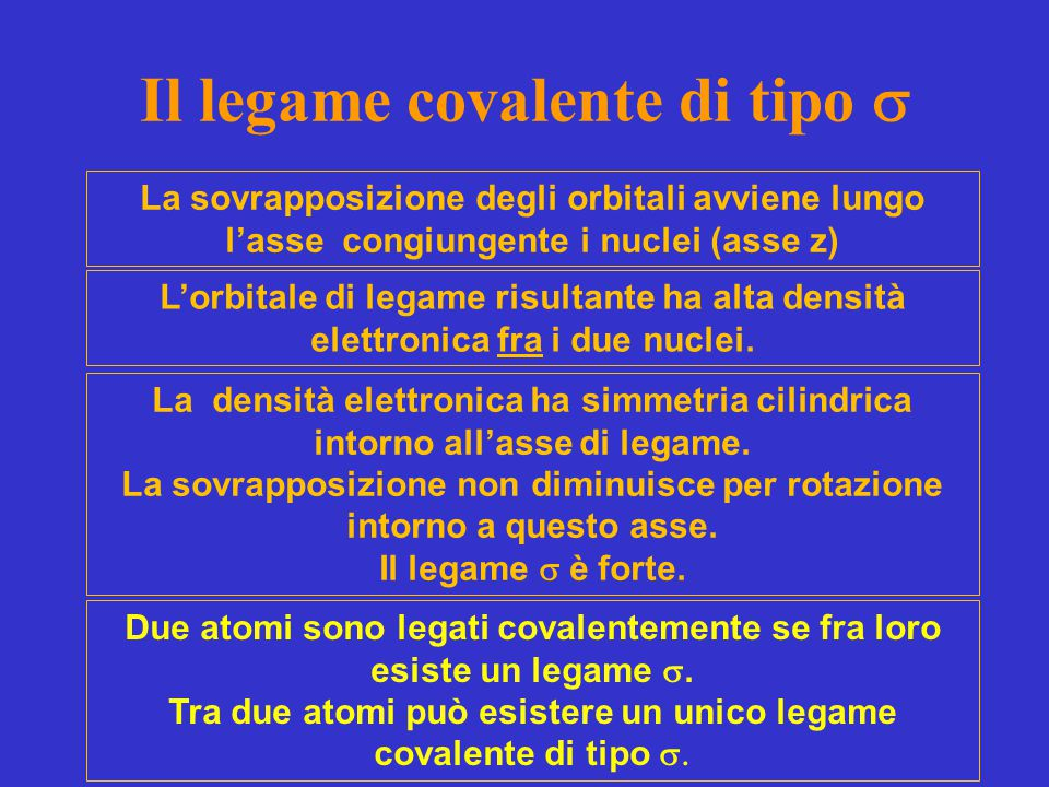 Il legame covalente di tipo s