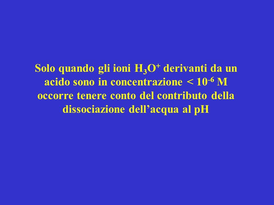 Solo quando gli ioni H3O+ derivanti da un acido sono in concentrazione < 10-6 M occorre tenere conto del contributo della dissociazione dell'acqua al pH