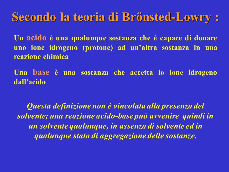 Secondo la teoria di Brönsted-Lowry :