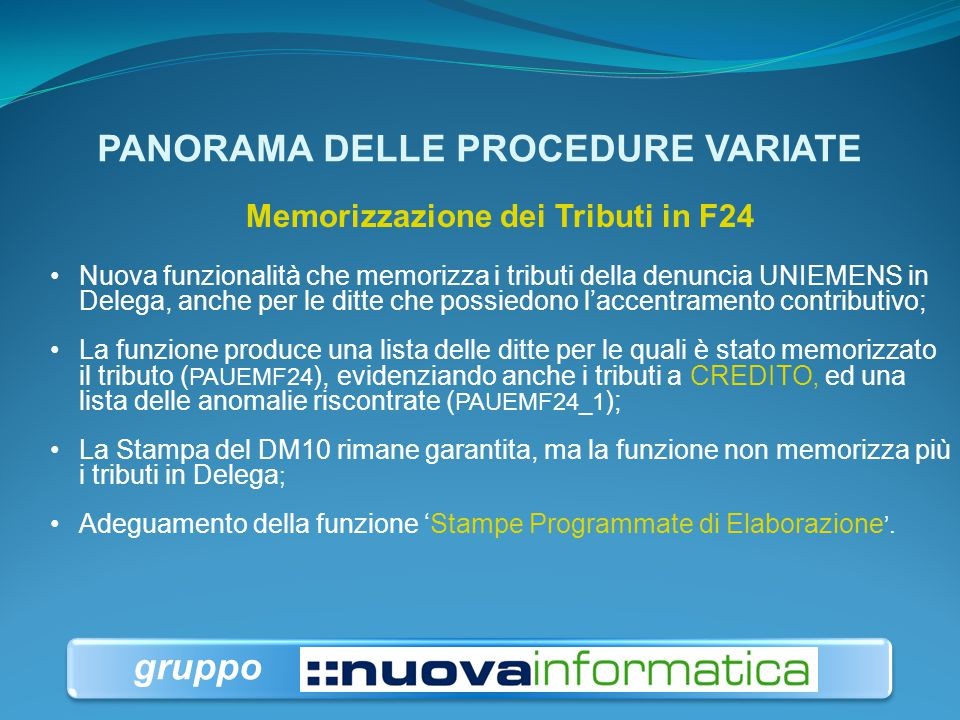 PANORAMA DELLE PROCEDURE VARIATE