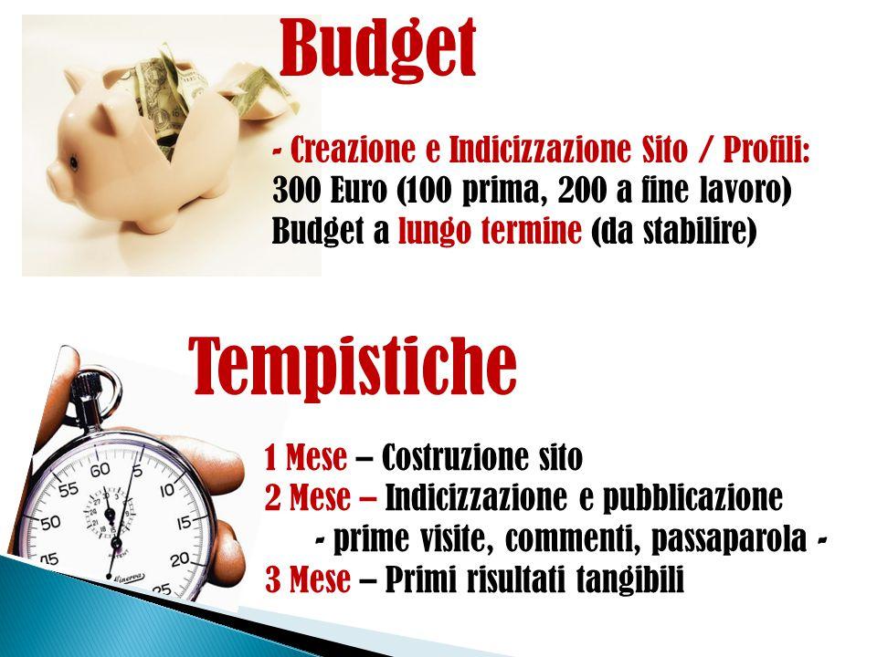 Budget - Creazione e Indicizzazione Sito / Profili: 300 Euro (100 prima, 200 a fine lavoro) Budget a lungo termine (da stabilire)