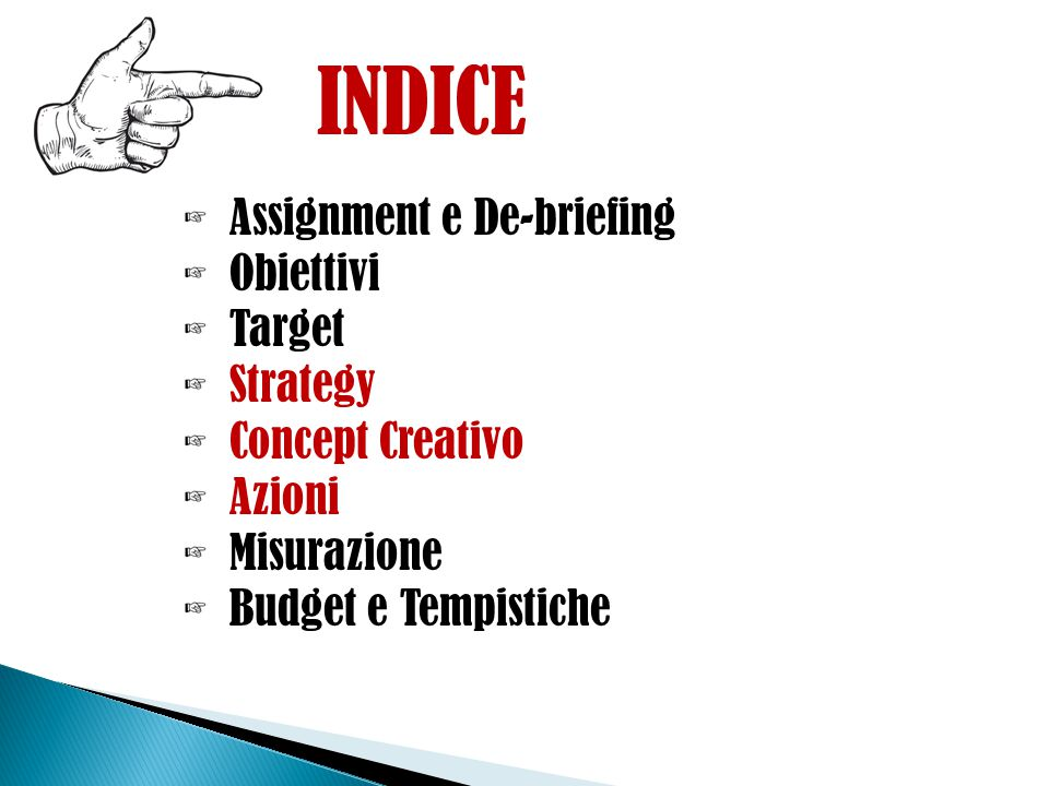 INDICE Assignment e De-briefing Obiettivi Target Strategy