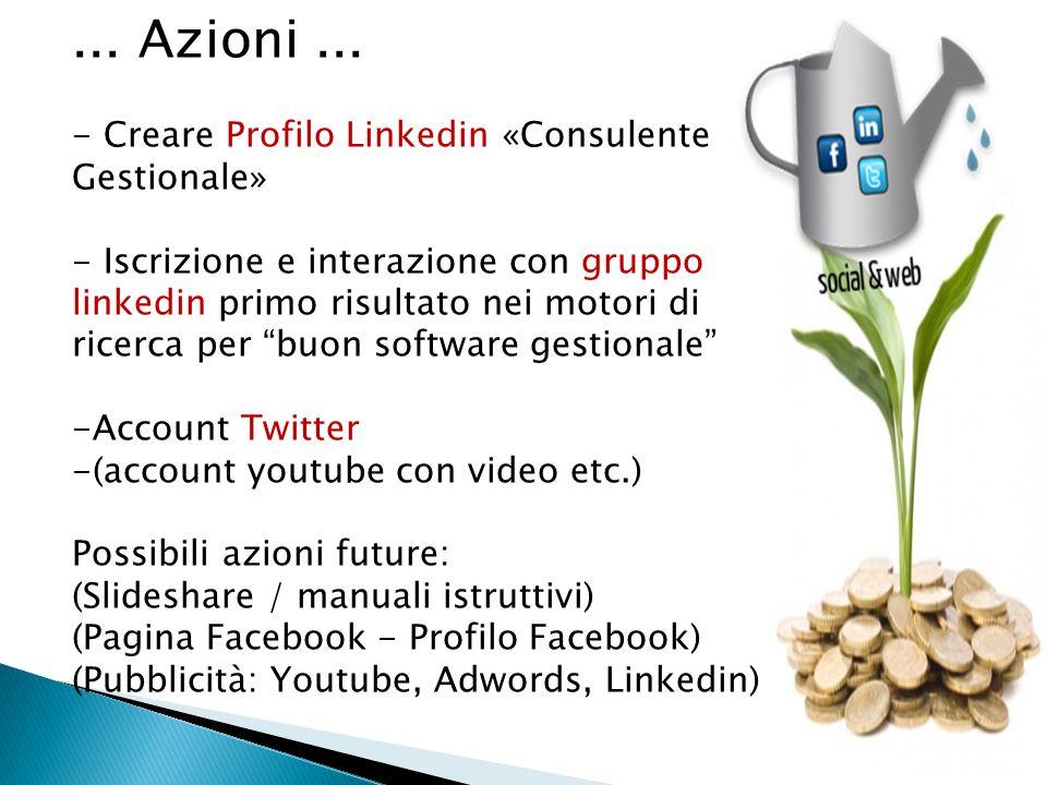 ... Azioni ... - Creare Profilo Linkedin «Consulente Gestionale»
