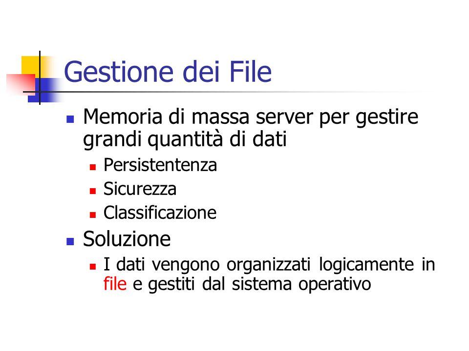 Gestione dei File Memoria di massa server per gestire grandi quantità di dati. Persistentenza. Sicurezza.