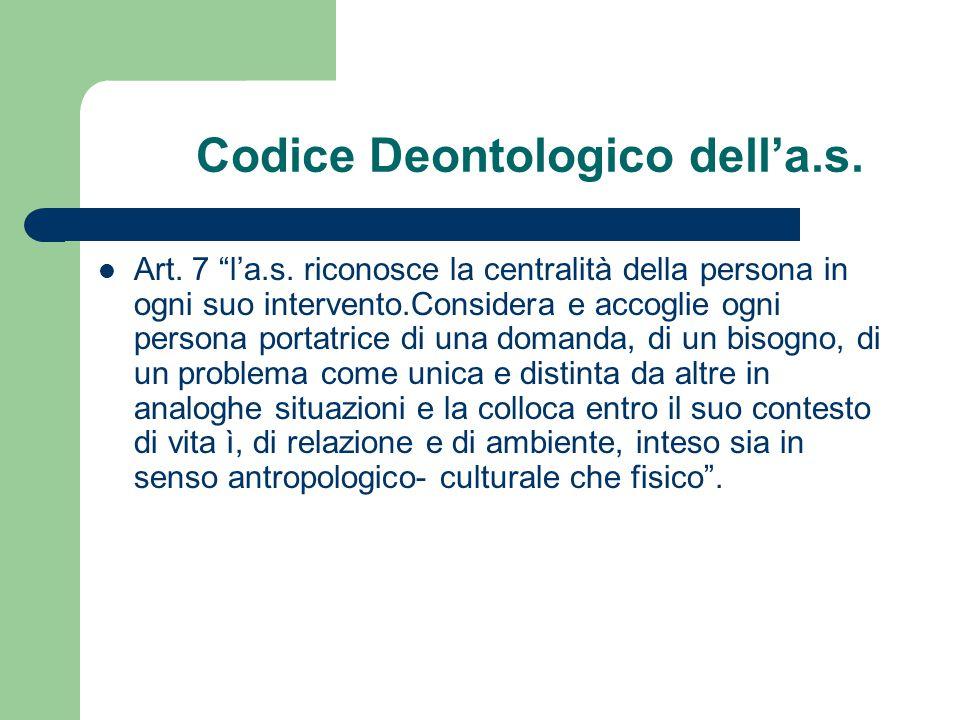 Codice Deontologico dell'a.s.