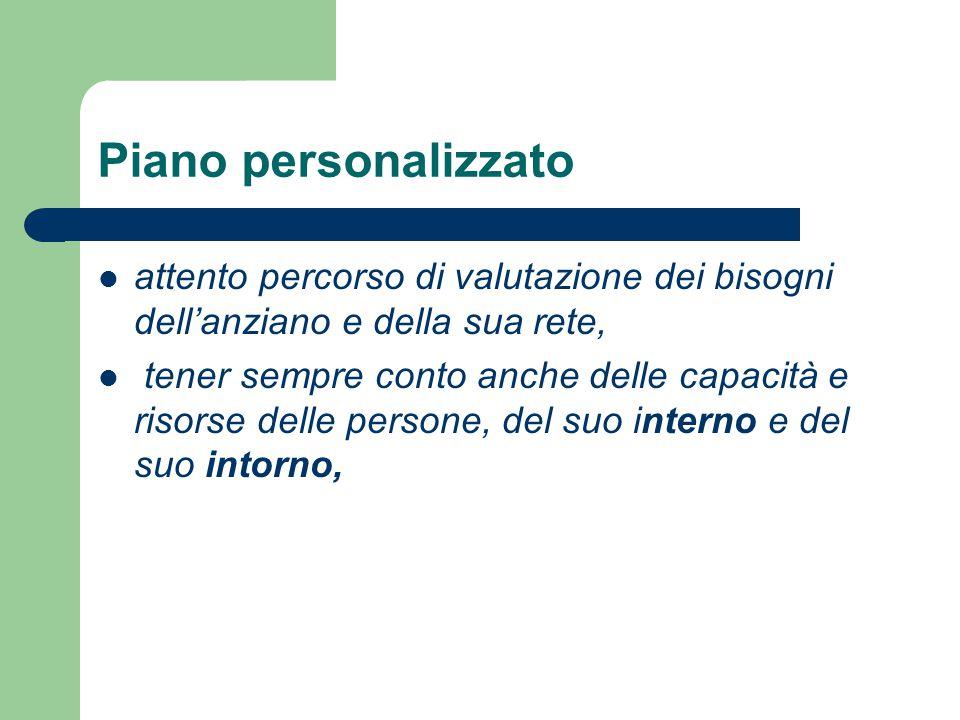Piano personalizzato attento percorso di valutazione dei bisogni dell'anziano e della sua rete,