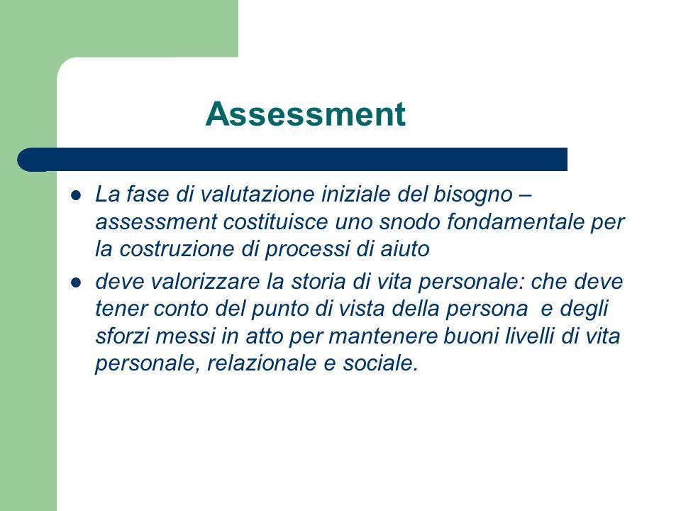 Assessment La fase di valutazione iniziale del bisogno – assessment costituisce uno snodo fondamentale per la costruzione di processi di aiuto.