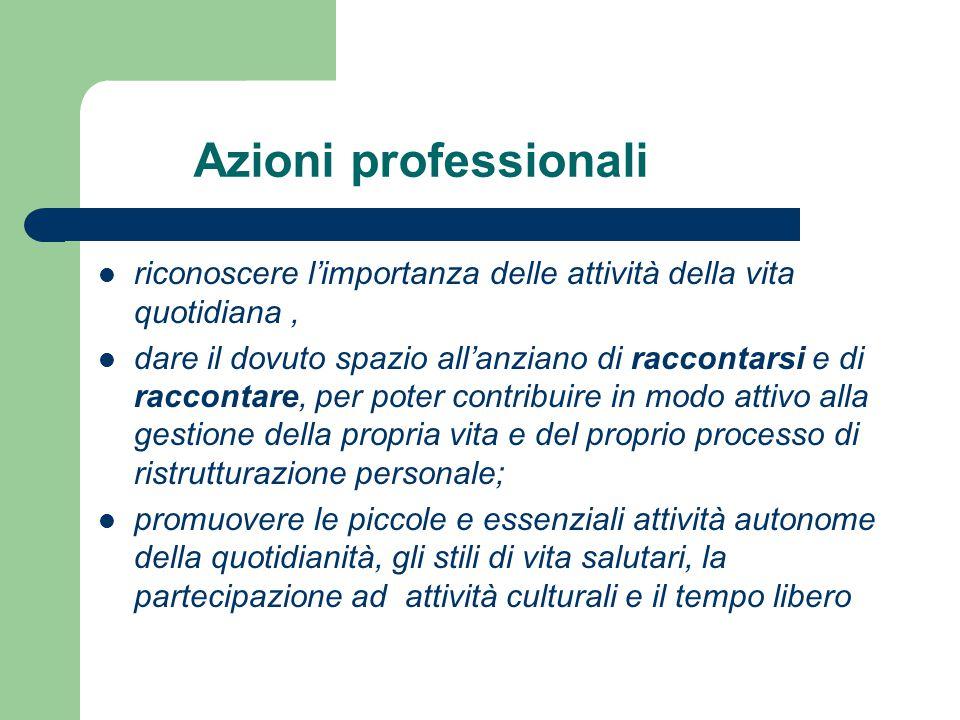 Azioni professionali riconoscere l'importanza delle attività della vita quotidiana ,