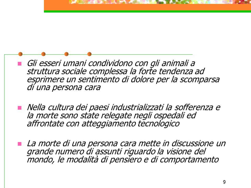 Gli esseri umani condividono con gli animali a struttura sociale complessa la forte tendenza ad esprimere un sentimento di dolore per la scomparsa di una persona cara