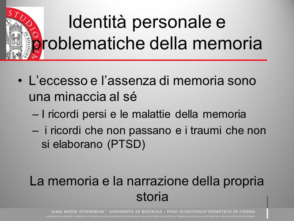Identità personale e problematiche della memoria