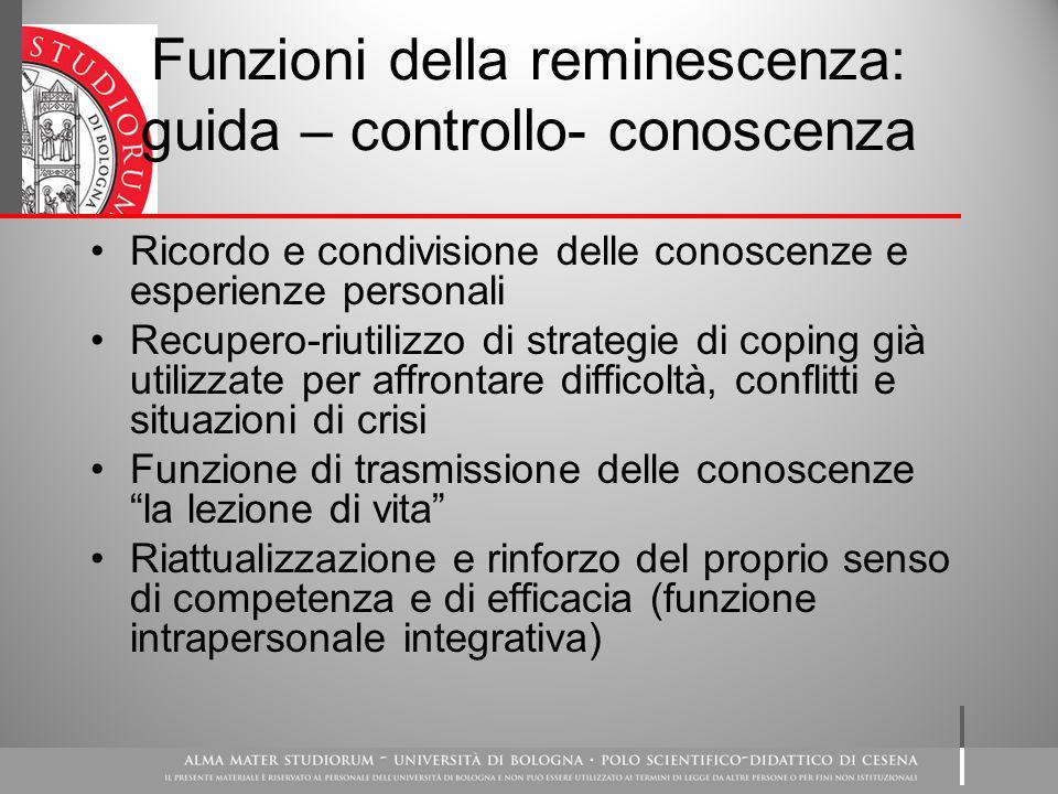 Funzioni della reminescenza: guida – controllo- conoscenza