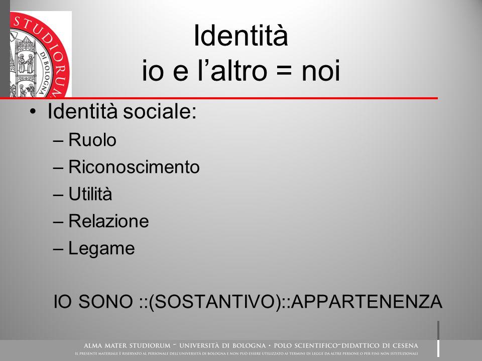 Identità io e l'altro = noi
