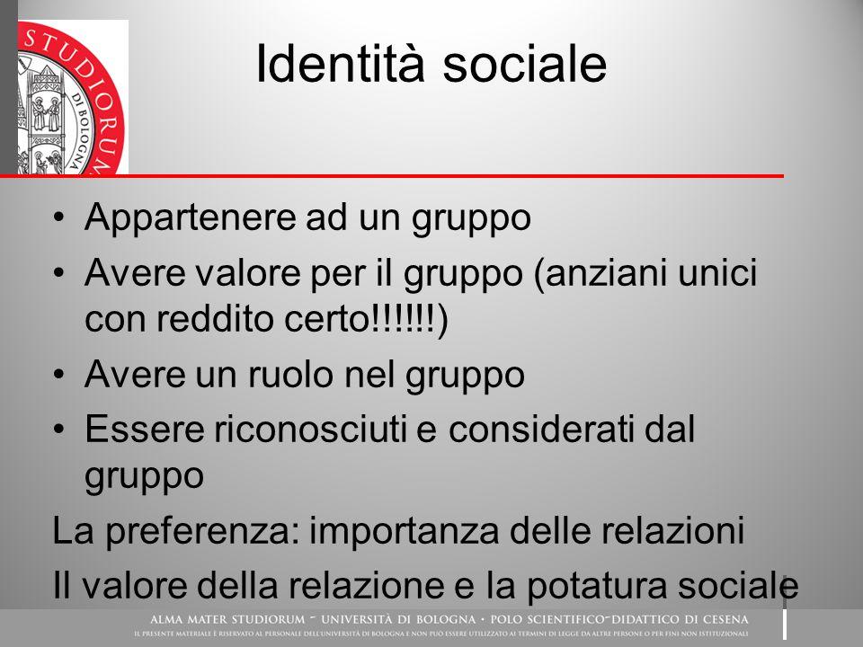 Identità sociale Appartenere ad un gruppo