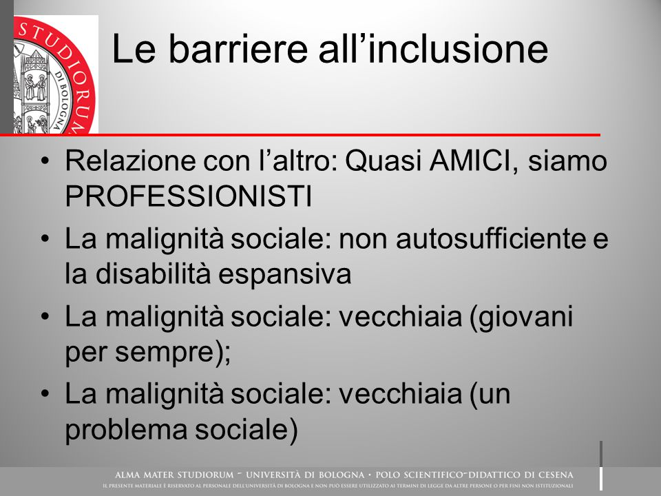 Le barriere all'inclusione