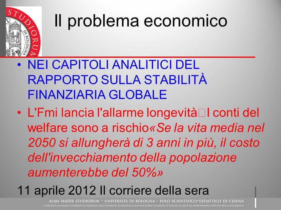 Il problema economico NEI CAPITOLI ANALITICI DEL RAPPORTO SULLA STABILITÀ FINANZIARIA GLOBALE.