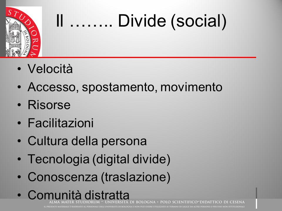 Il …….. Divide (social) Velocità Accesso, spostamento, movimento