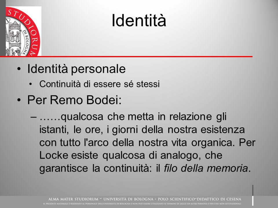 Identità Identità personale Per Remo Bodei:
