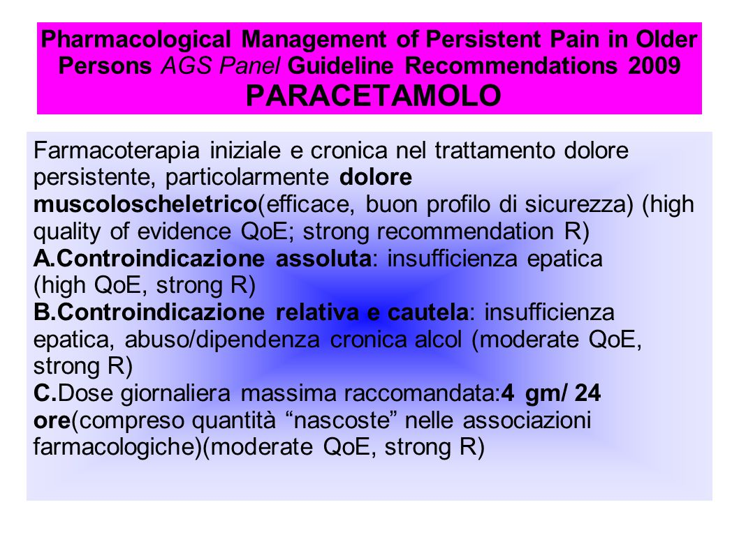 Pharmacological Management of Persistent Pain in Older Persons AGS Panel Guideline Recommendations 2009 PARACETAMOLO