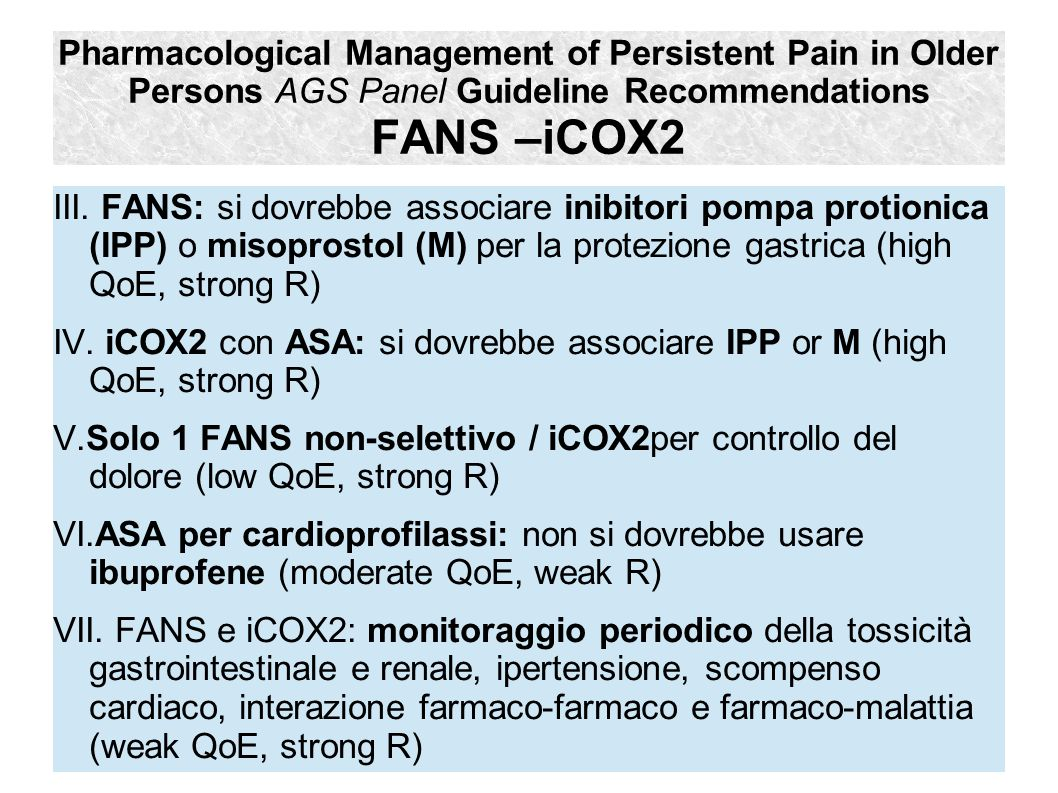 Pharmacological Management of Persistent Pain in Older Persons AGS Panel Guideline Recommendations FANS –iCOX2