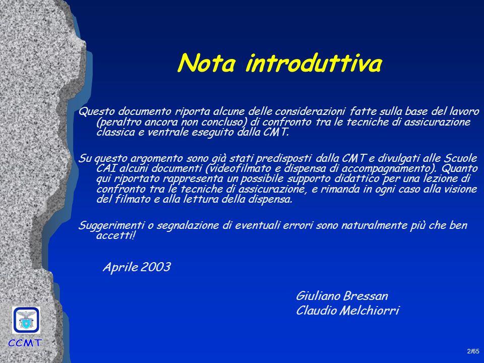 Nota introduttiva Aprile 2003 Giuliano Bressan Claudio Melchiorri