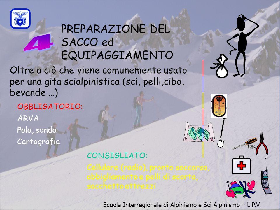 PREPARAZIONE DEL SACCO ed EQUIPAGGIAMENTO