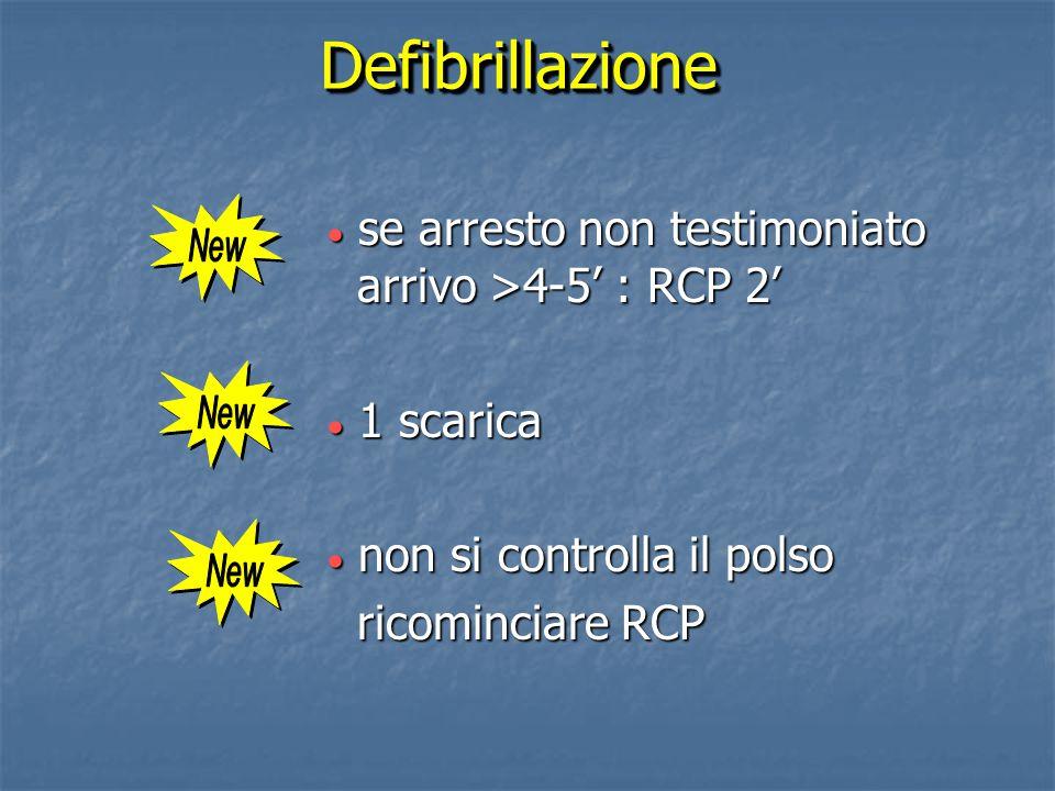 Defibrillazione se arresto non testimoniato arrivo >4-5' : RCP 2'