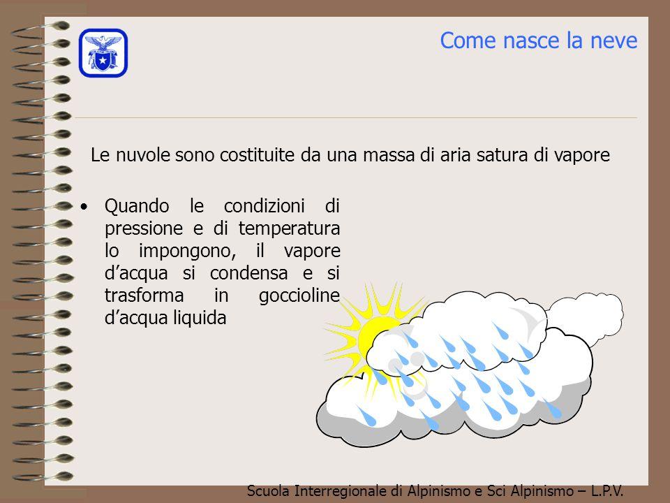Come nasce la neve Le nuvole sono costituite da una massa di aria satura di vapore.