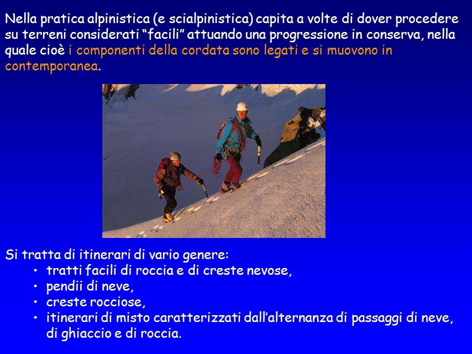 Nella pratica alpinistica (e scialpinistica) capita a volte di dover procedere su terreni considerati facili attuando una progressione in conserva, nella quale cioè i componenti della cordata sono legati e si muovono in contemporanea.