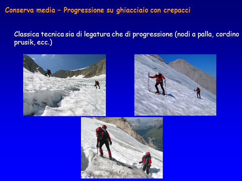 Conserva media – Progressione su ghiacciaio con crepacci