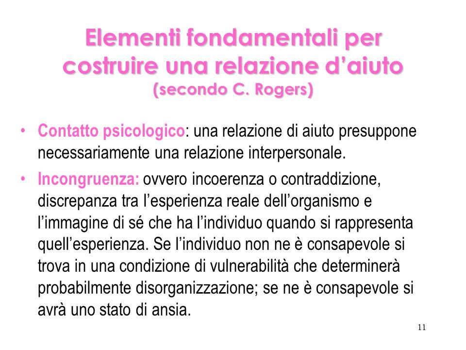 Elementi fondamentali per costruire una relazione d'aiuto (secondo C