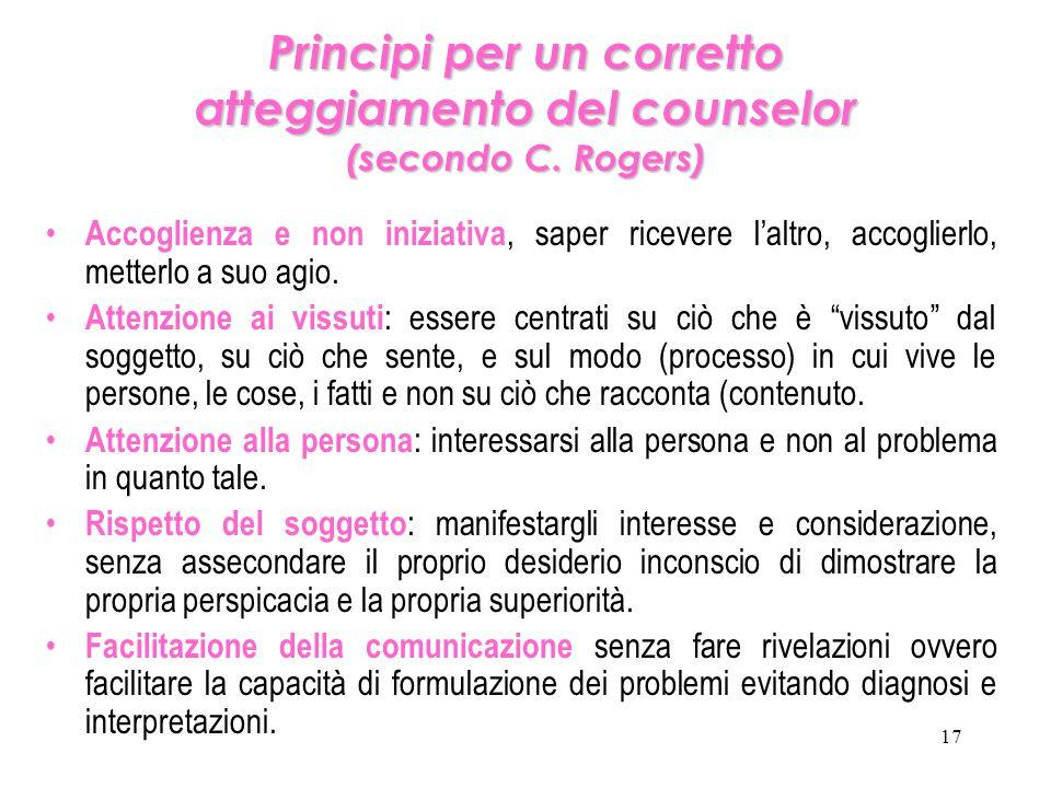 Principi per un corretto atteggiamento del counselor (secondo C