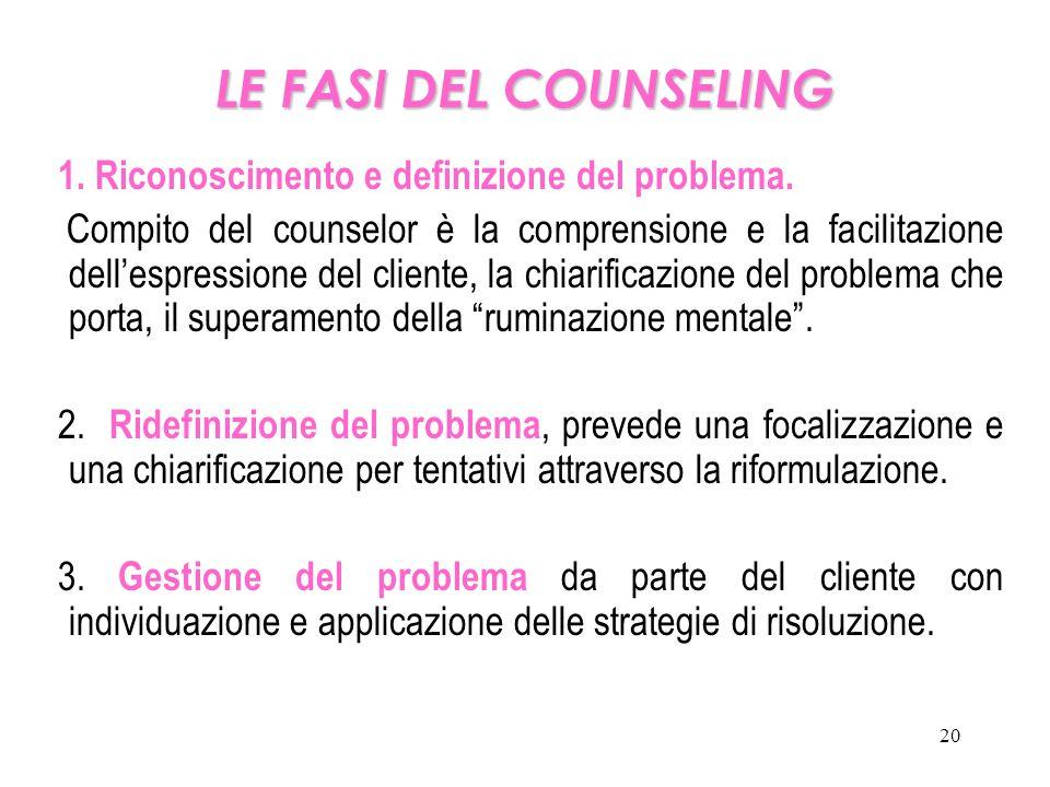 LE FASI DEL COUNSELING 1. Riconoscimento e definizione del problema.