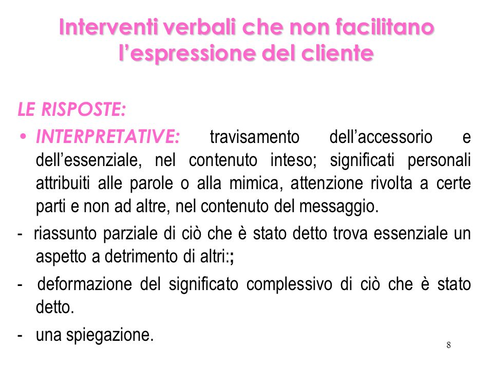 Interventi verbali che non facilitano l'espressione del cliente