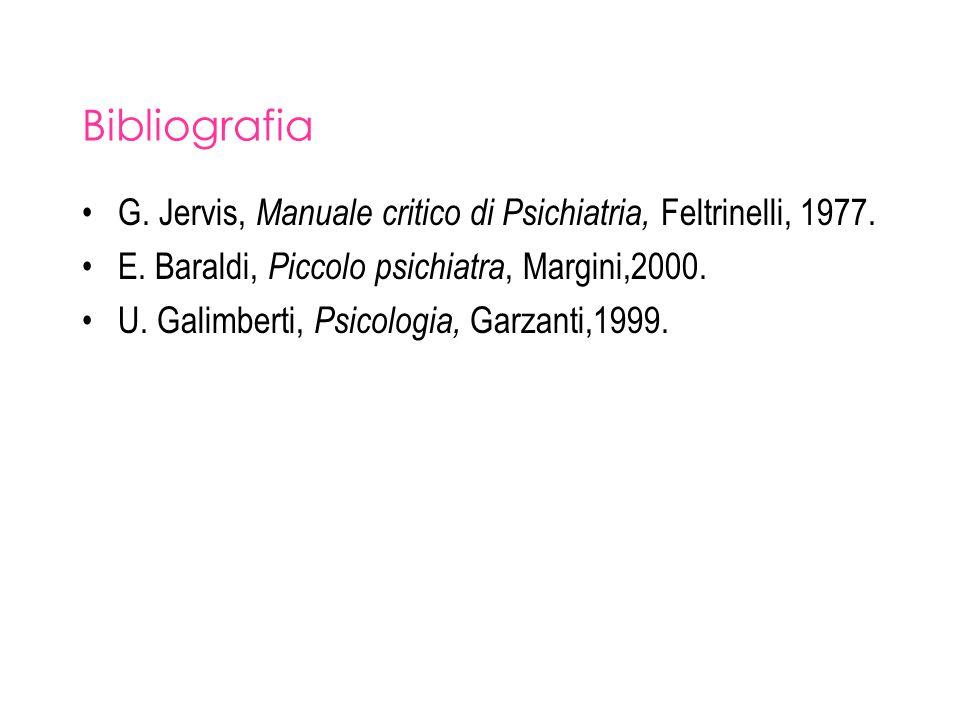 Bibliografia G. Jervis, Manuale critico di Psichiatria, Feltrinelli, 1977. E. Baraldi, Piccolo psichiatra, Margini,2000.