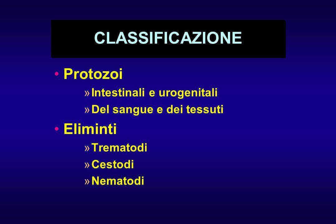 CLASSIFICAZIONE Protozoi Eliminti Intestinali e urogenitali