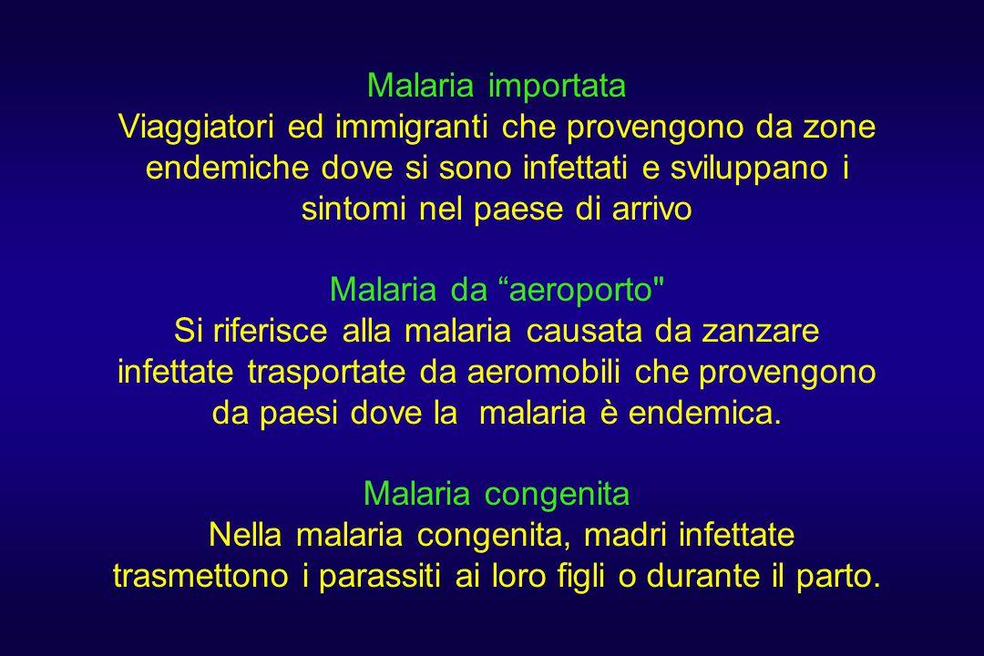Malaria importata Viaggiatori ed immigranti che provengono da zone endemiche dove si sono infettati e sviluppano i sintomi nel paese di arrivo.