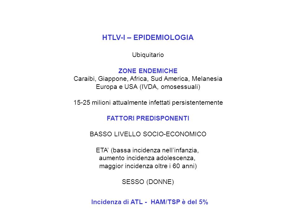 HTLV-I – EPIDEMIOLOGIA
