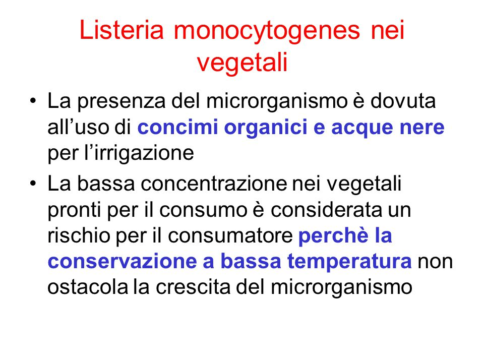 Listeria monocytogenes nei vegetali