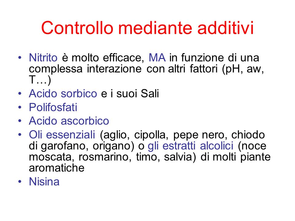 Controllo mediante additivi