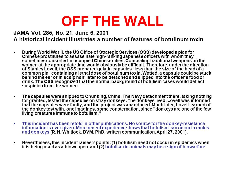 OFF THE WALL JAMA Vol. 285, No. 21, June 6, 2001