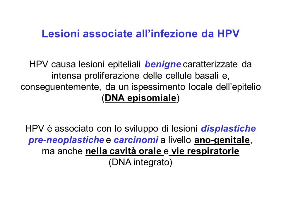 Lesioni associate all'infezione da HPV