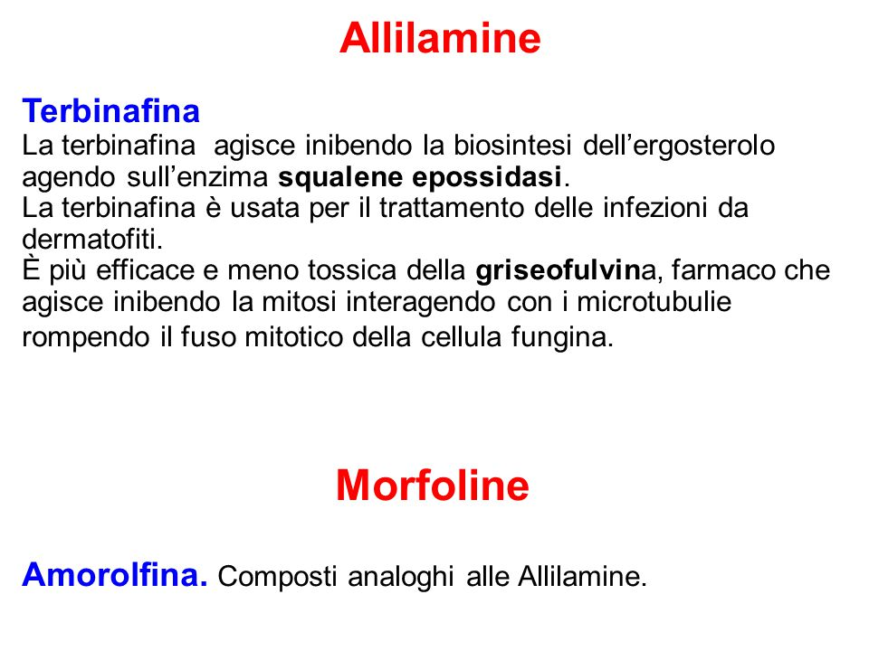Amorolfina. Composti analoghi alle Allilamine.