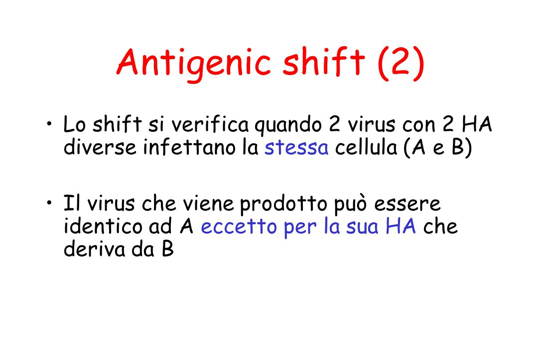 Antigenic shift (2) Lo shift si verifica quando 2 virus con 2 HA diverse infettano la stessa cellula (A e B)